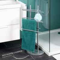 bremermann Stand-Handtuchhalter freistehend, 3 Stangen, Handtuchständer, grau