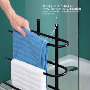 bremermann Stand-Handtuchhalter freistehend, 3 Stangen, Handtuchständer, schwarz