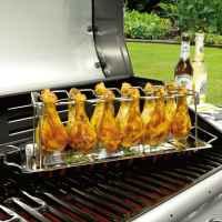 bremermann 2x Hähnchenschenkel-Halter für je 12 Keulen, aus Edelstahl mit einer Auffangschale