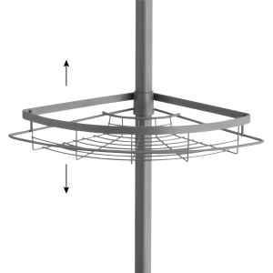 bremermann Teleskop-Eckregal, 4 Körbe, Teleskop-Stange bis max. ca. 290 cm, grau
