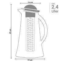 bremermann Kühlkaraffe, Wasserkaraffe 2,4 Liter mit Kühl- und Aromastab, weiß