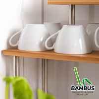 bremermann Küchenregal, Eckregal aus Bambus und Edelstahl mit Haken