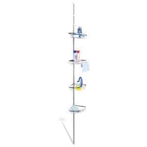 bremermann hochwertiges Edelstahl Teleskop-Eckregal, Teleskop-Stange bis max. ca. 290 cm