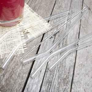 bremermann 6er Glas-Trinkhalme, 20 cm Länge, wiederverwendbar, transparent inklusive 2 Reinigungsbürsten
