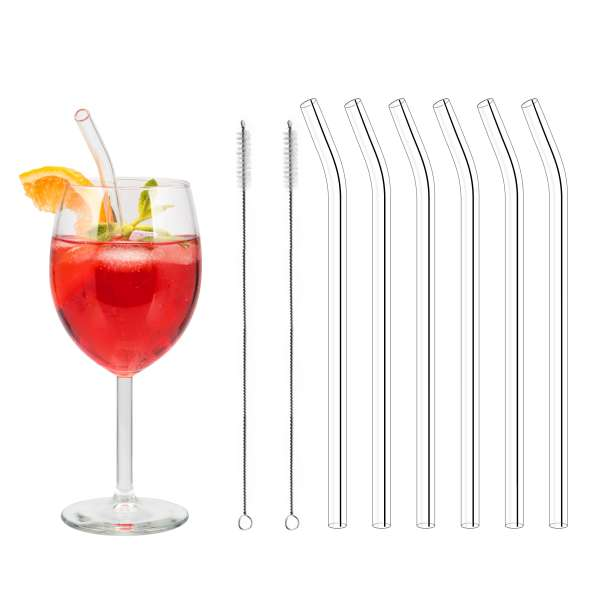 bremermann 6er Glas-Trinkhalme, 15 cm Länge, wiederverwendbar, transparent inklusive 2 Reinigungsbürsten