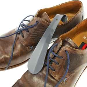 bremermann Schuhlöffel, Reise-Schuhanzieher, klein 16cm, aus Metall gefertigt, grau lackiert