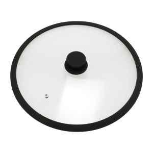 bremermann Glasdeckel mit Silikonrand für 32 cm Töpfe und Pfannen, schwarz