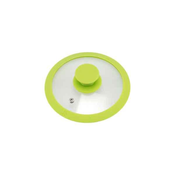 bremermann Glasdeckel mit Silikonrand für 16 cm Töpfe und Pfannen, grün