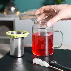 bremermann Teeglas, Teebecher mit Sieb und Deckel/Siebablage, Teetasse mit Dauersieb in lime
