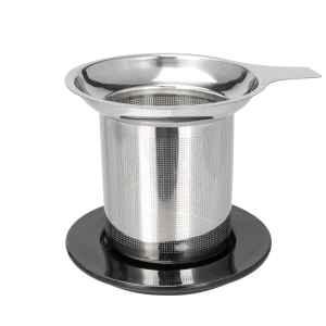 bremermann Keramik Teebecher mit Sieb, Teetasse mit Dauersieb und Deckel/Siebablage, in schwarz