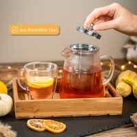 bremermann Glas-Teekanne ca. 950 ml Inhalt mit Siebeinsatz, Dauersieb, mit Glasgriff Borosilikat