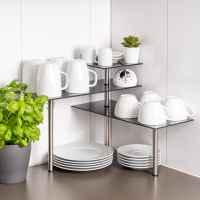 bremermann Glas-Eckregal, Küchenregal, aus Glas und rostfreiem Edelstahl