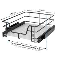 bremermann Teleskopschublade für 45 cm Schrank mit Einlegeboden Küchenschublade, schwarz