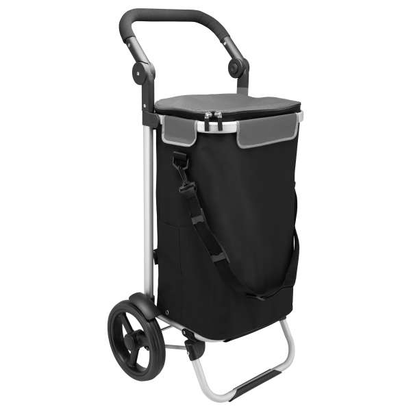 bremermann Einkaufstrolley JEEBEL, Handwagen, Einkaufswagen mit Abnehmbarer Tasche, Verstellbarer Griff, schwarz